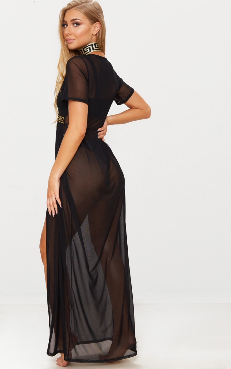 Black Greek Key Waist Mesh Beach Dress 2