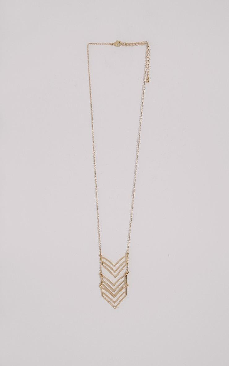Hermia Gold Long Chevron Necklace 1