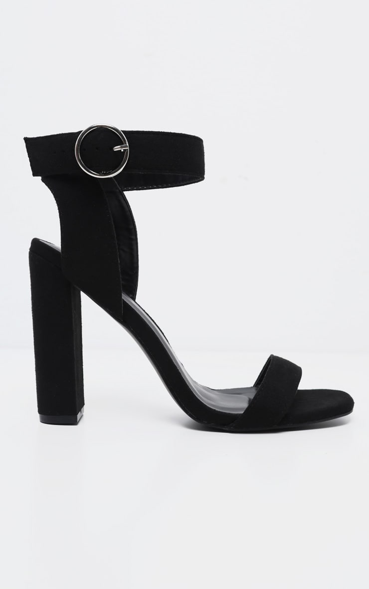 Black Ring Buckle Block Heel Sandal 3