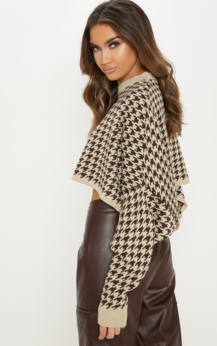 Stone Dogtooth Knitted Cropped Sweater 2