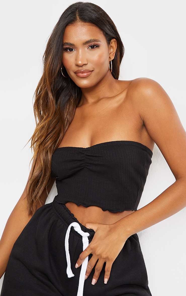 Black Ribbed Ruched Front Bandeau 1