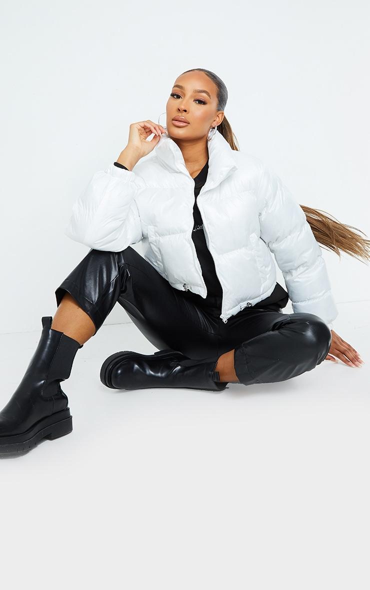 White Nylon Toggle Hem Puffer Jacket 1