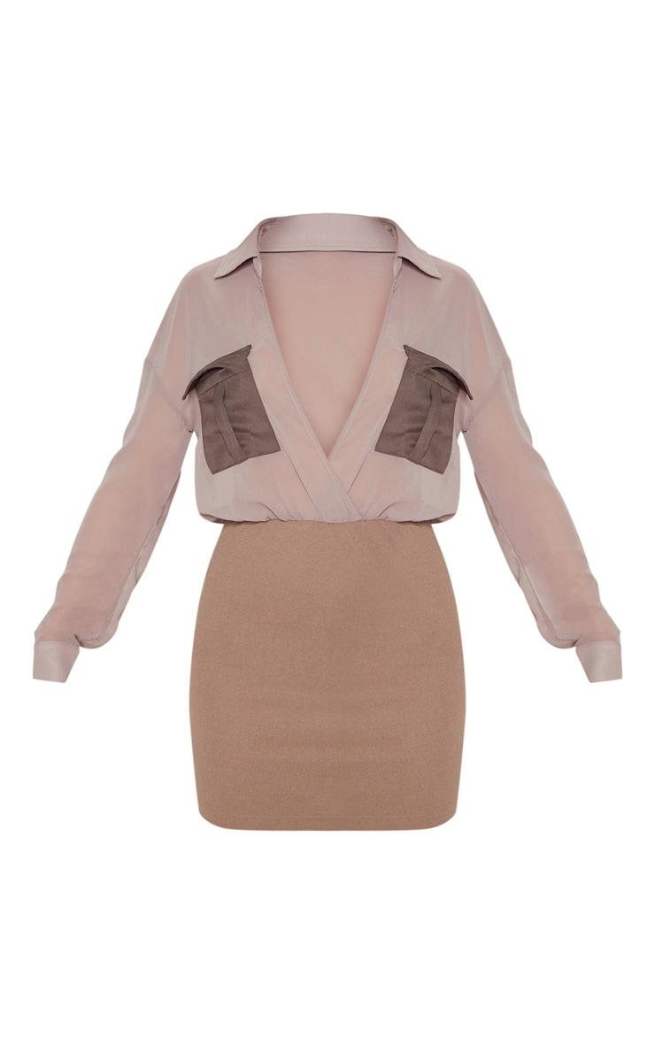 Mocha Sheer Top Utility Bodycon Dress 3