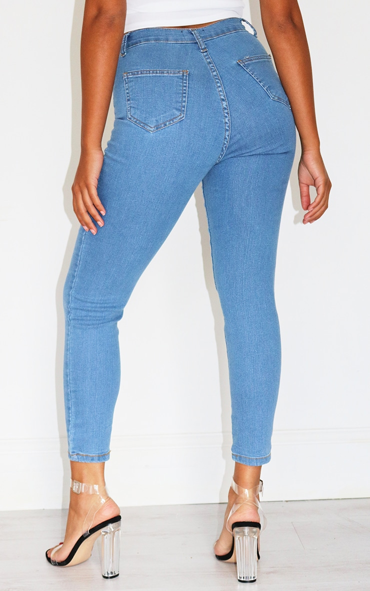Petite Mid Blue Wash Disco Fit Skinny Jeans 3