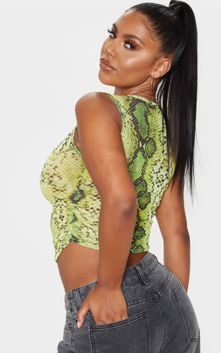 Lime Snake Skin Mesh Side Ruched Long Top  2
