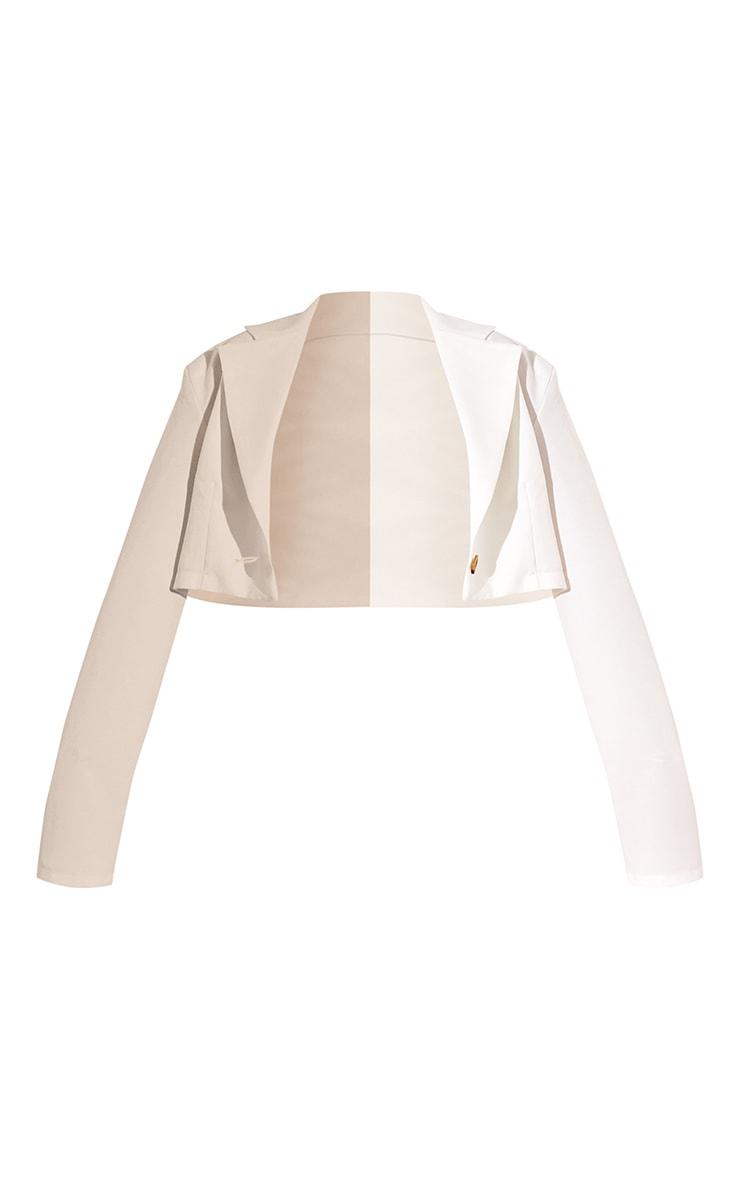 Cream Woven Contrast Cropped Blazer 5