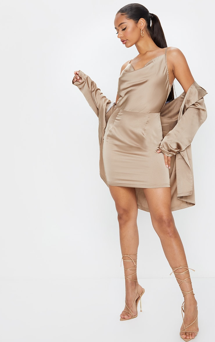 Gold Satin Cowl Neck Slip Dress 3