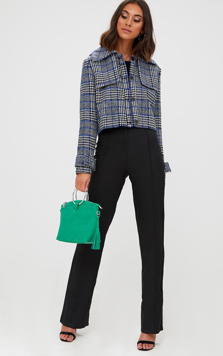 Grey Checked Cropped Jacket 4
