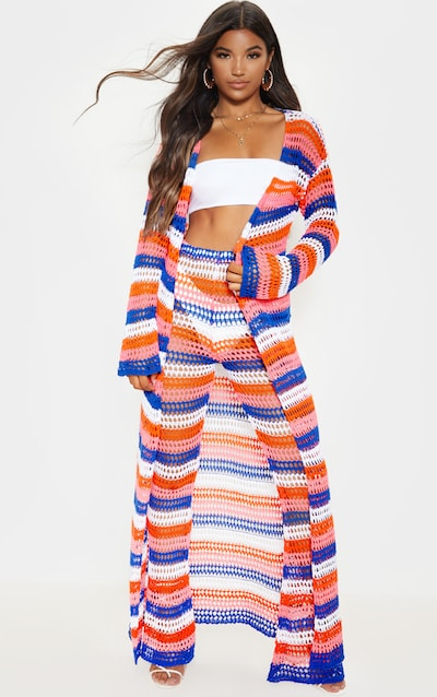 Blue Crochet Knitted Maxi Cardigan