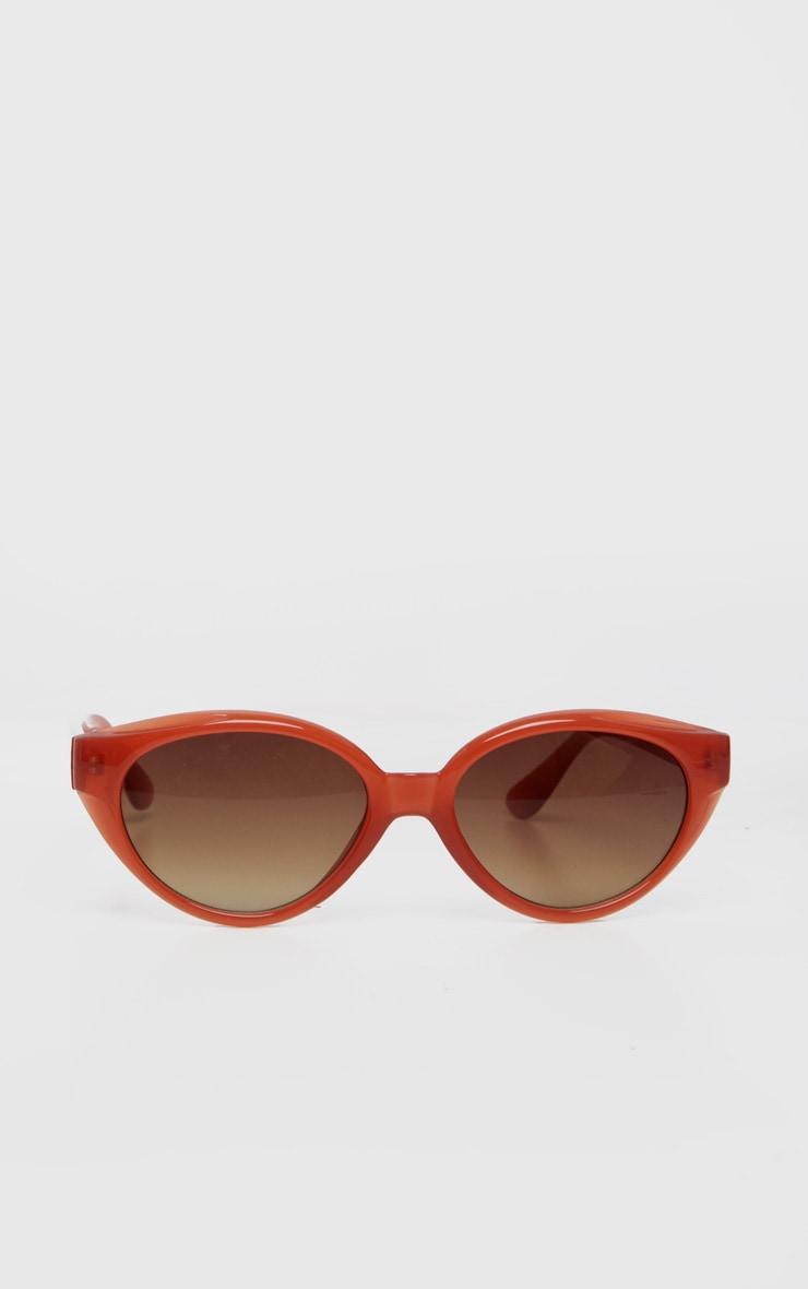Red Plastic Frame Oval Sunglasses 2