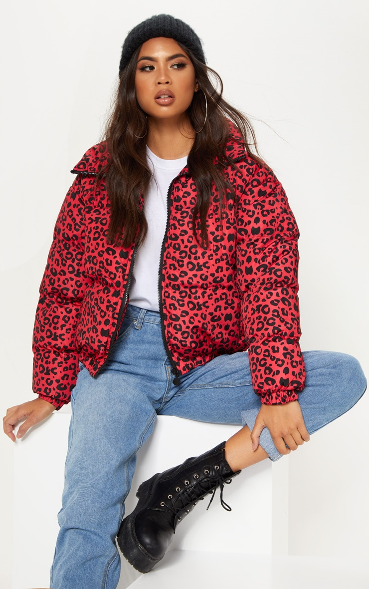 Red Leopard Print Puffer  by Prettylittlething
