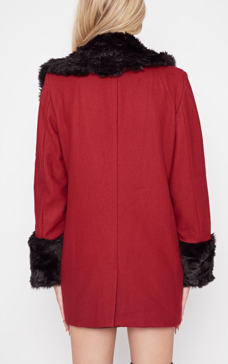 Ella Red Wool Coat With Black Faux Fur Collar 2