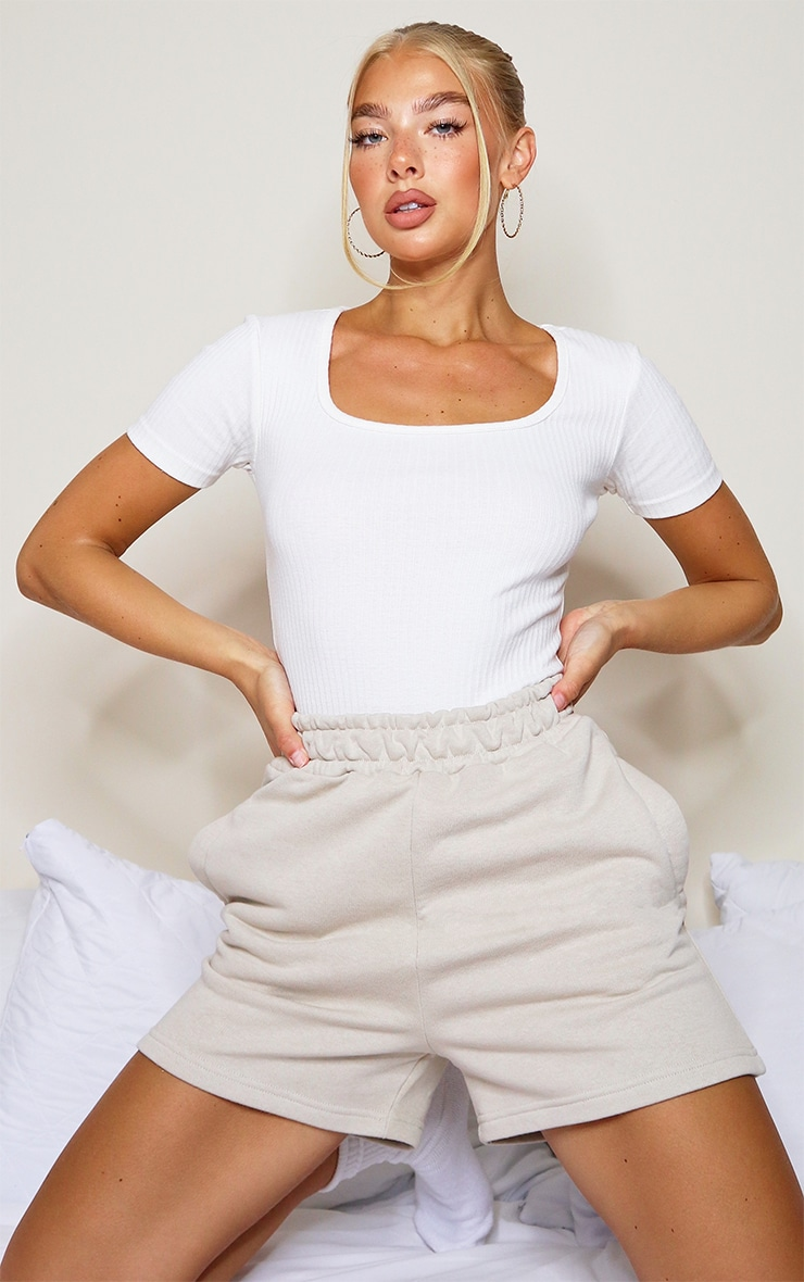 Cream Structured Rib Short Sleeve Bodysuit 1