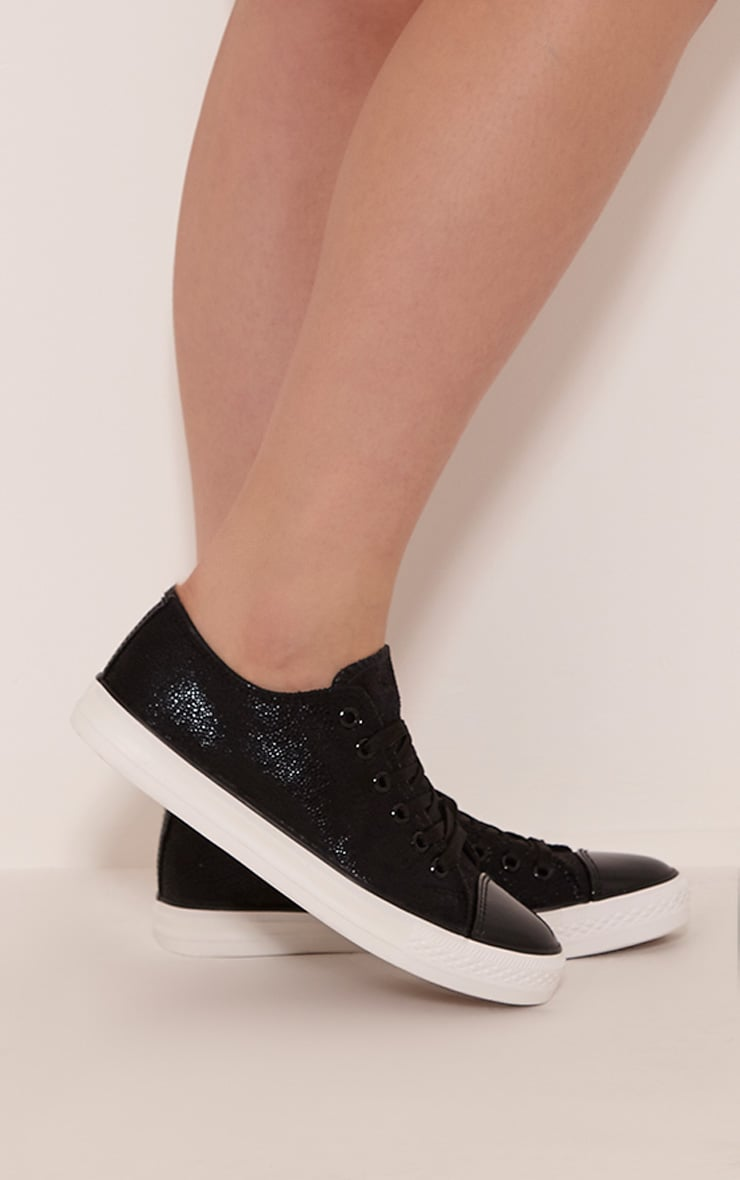 Connie Black Causual Lace Up Trainers 2