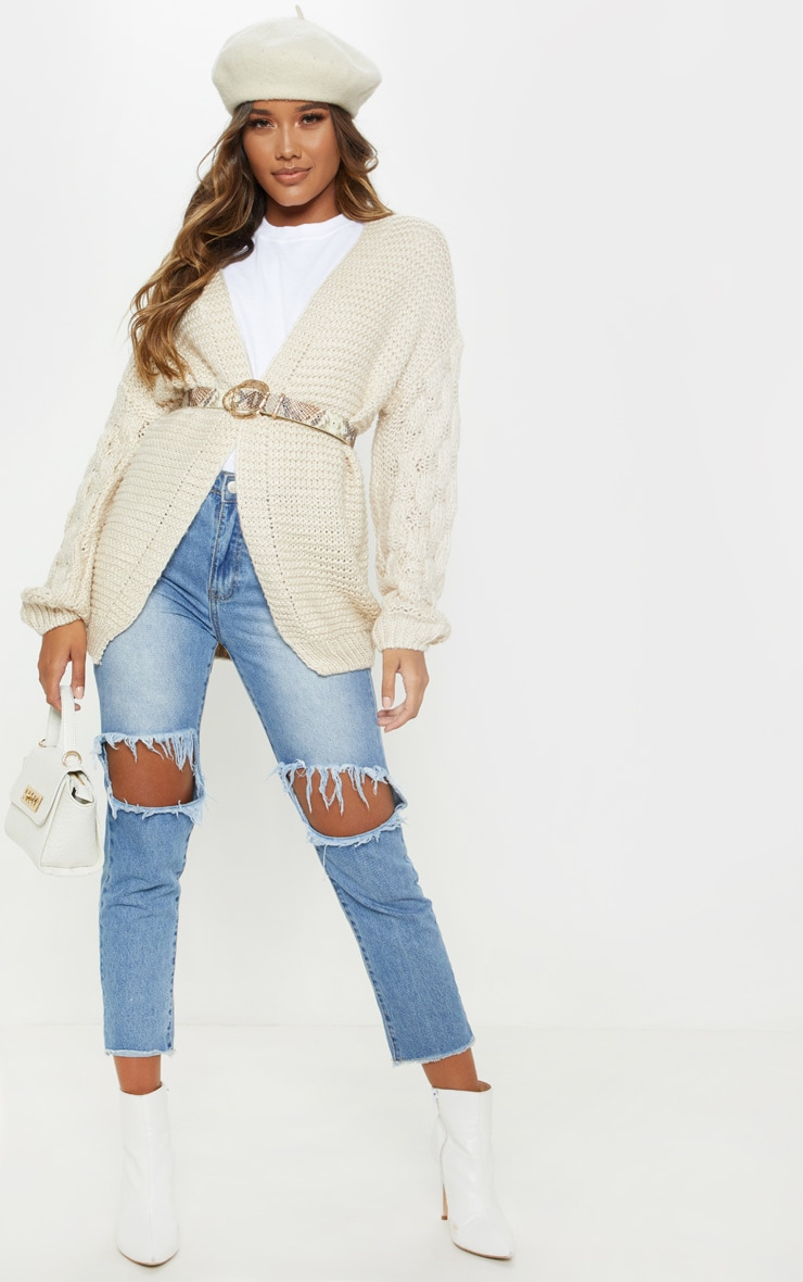 Cream Contrast Knit Cardigan 4