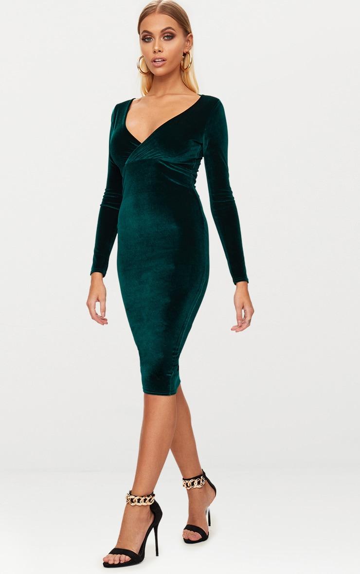 Emerald Green Long Sleeve Plunge Midi Bodycon Dress  3
