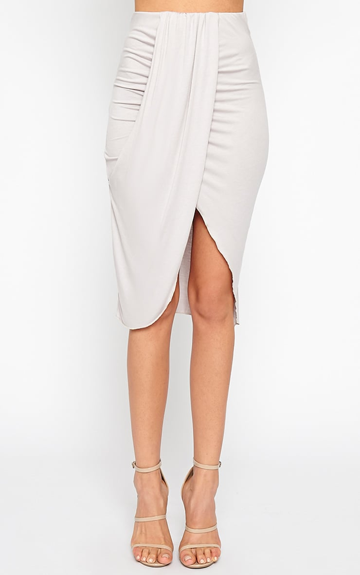 Ivana Grey Drape Midi Skirt 2