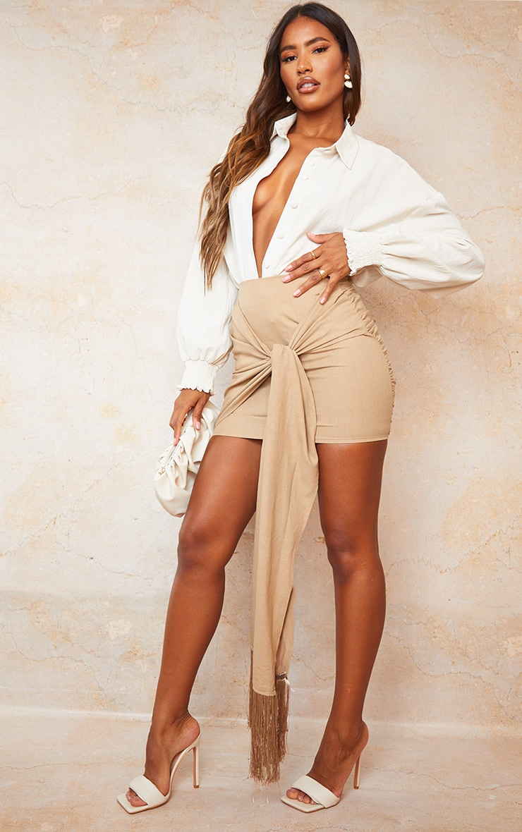 Sand Linen Feel Ruched Bum Extreme Tie Detail Mini Skirt 4