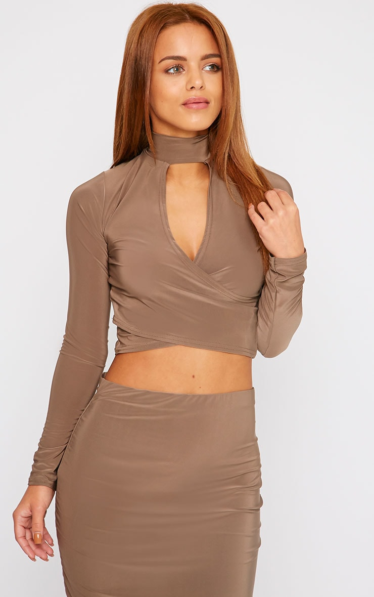 Siobhan Mocha Slinky High Neck Open Front Crop Top 1