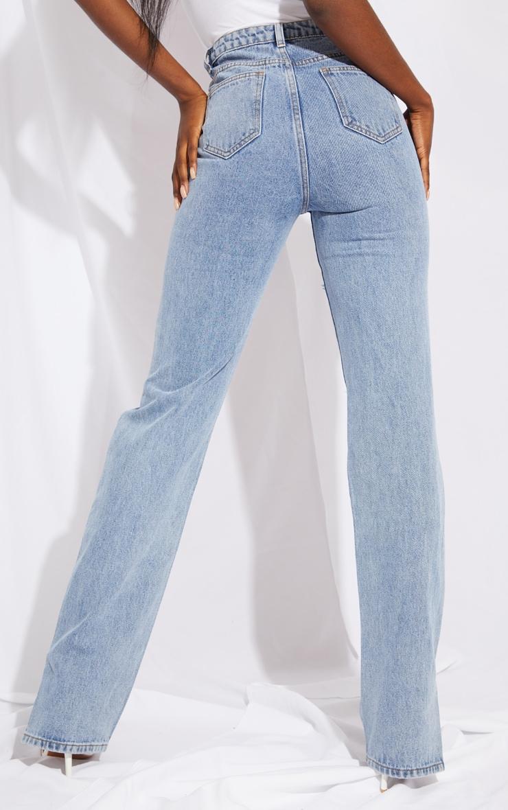 Tall Mid Blue Full Distressed Split Hem Denim Jean 3