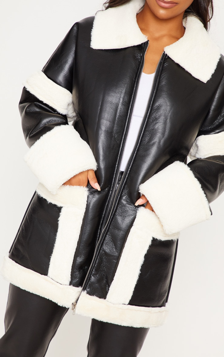 Black Faux Fur Trim Oversized Jacket 5