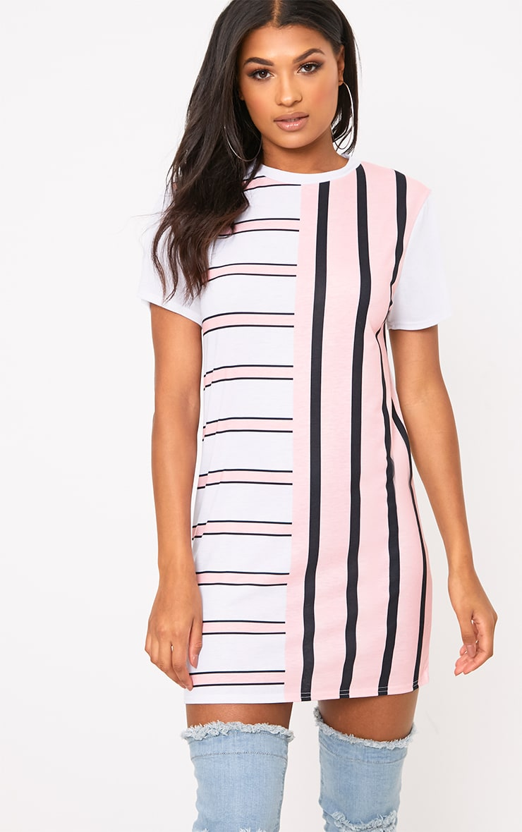Pink Contrast Stripe T Shirt Dress 1