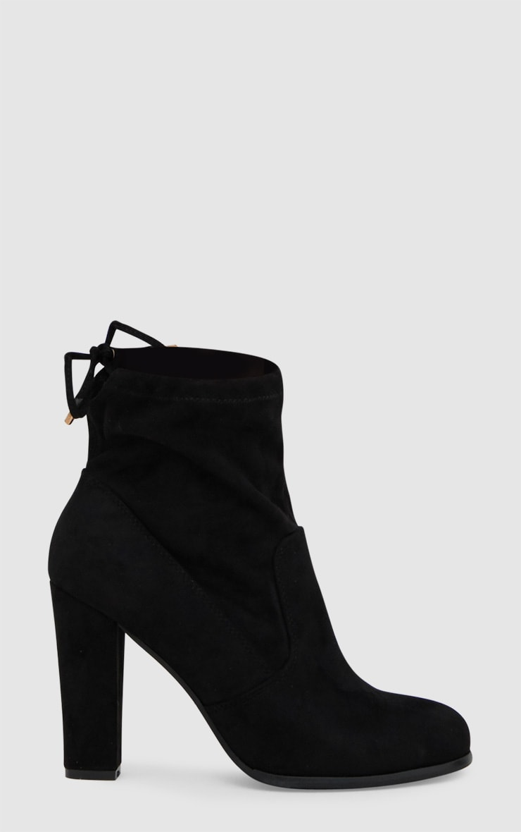 Black Faux Suede Heeled Ankle Boot 3