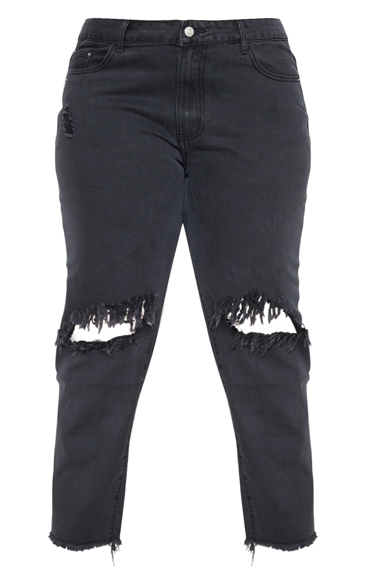Plus Black Extreme Knee Rip Straight Leg Cropped Jean 3