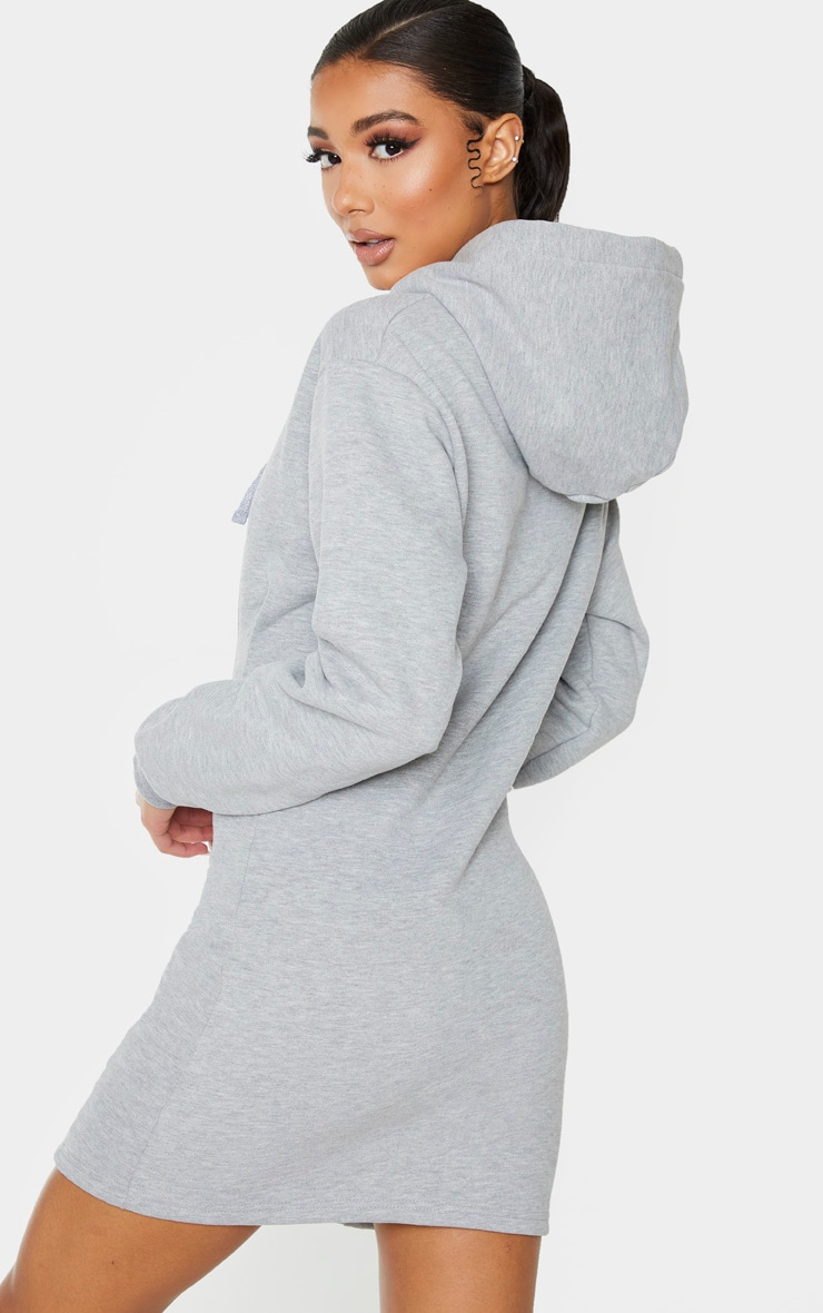 Grey Pleated Hoodie Sweater Dress 2