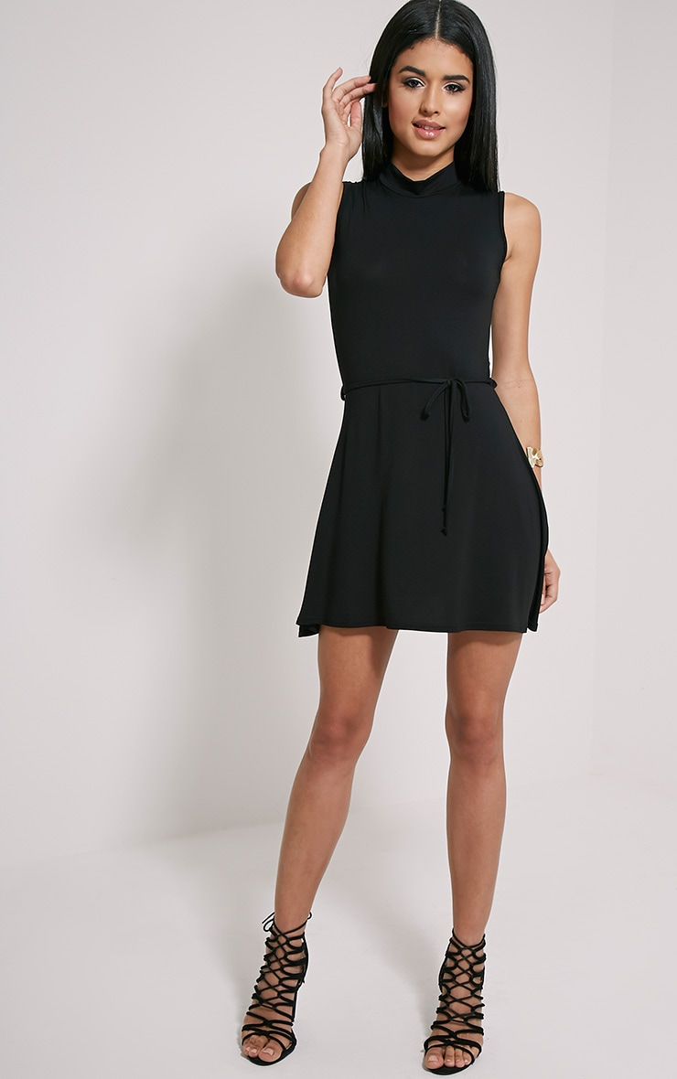 Marlie Black High Neck Belted Skater Dress 3