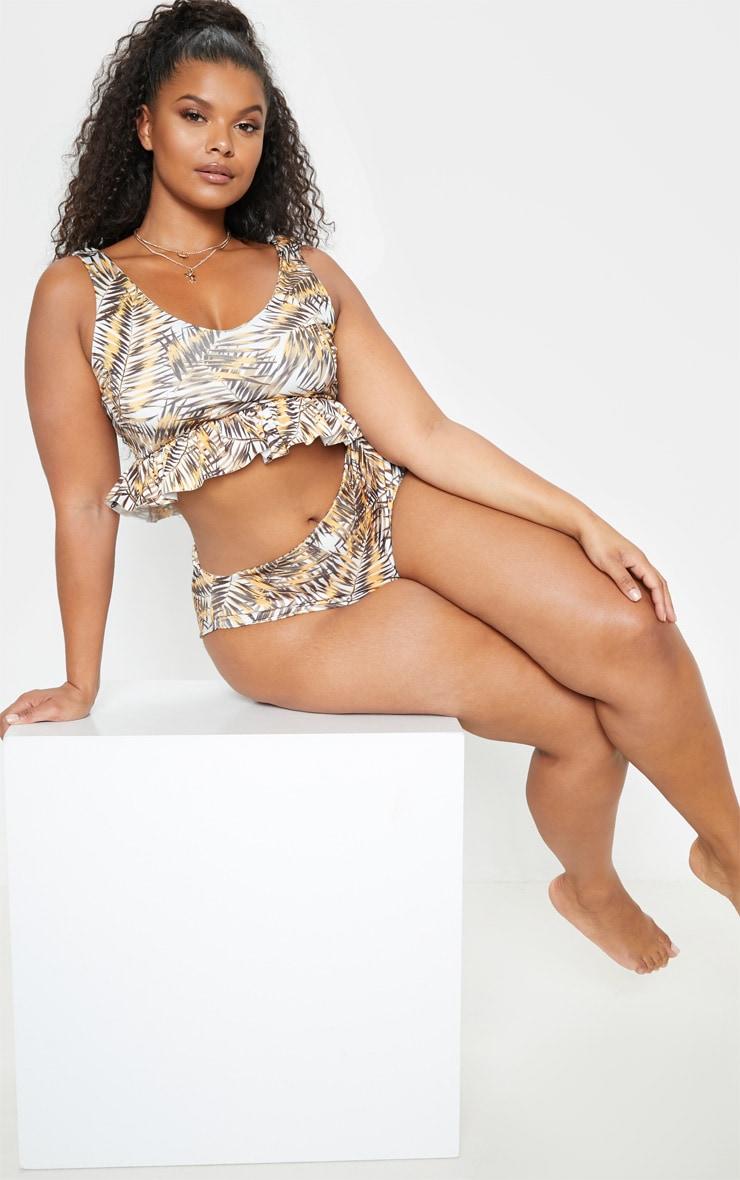PLT Plus -Haut de bikini marron à imprimé feuilles et volants 4