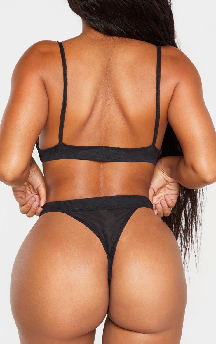 Shape Black Mesh Thong 3