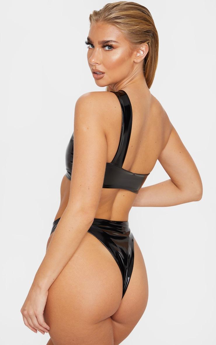 Black Vinyl Keyhole One Shoulder Bikini Top 2