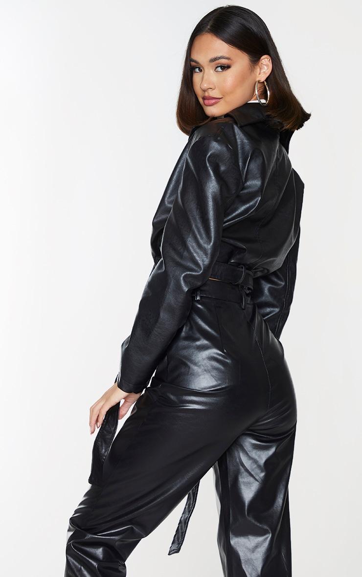 Black Faux Leather Super Cropped Belted Front Jacket 2