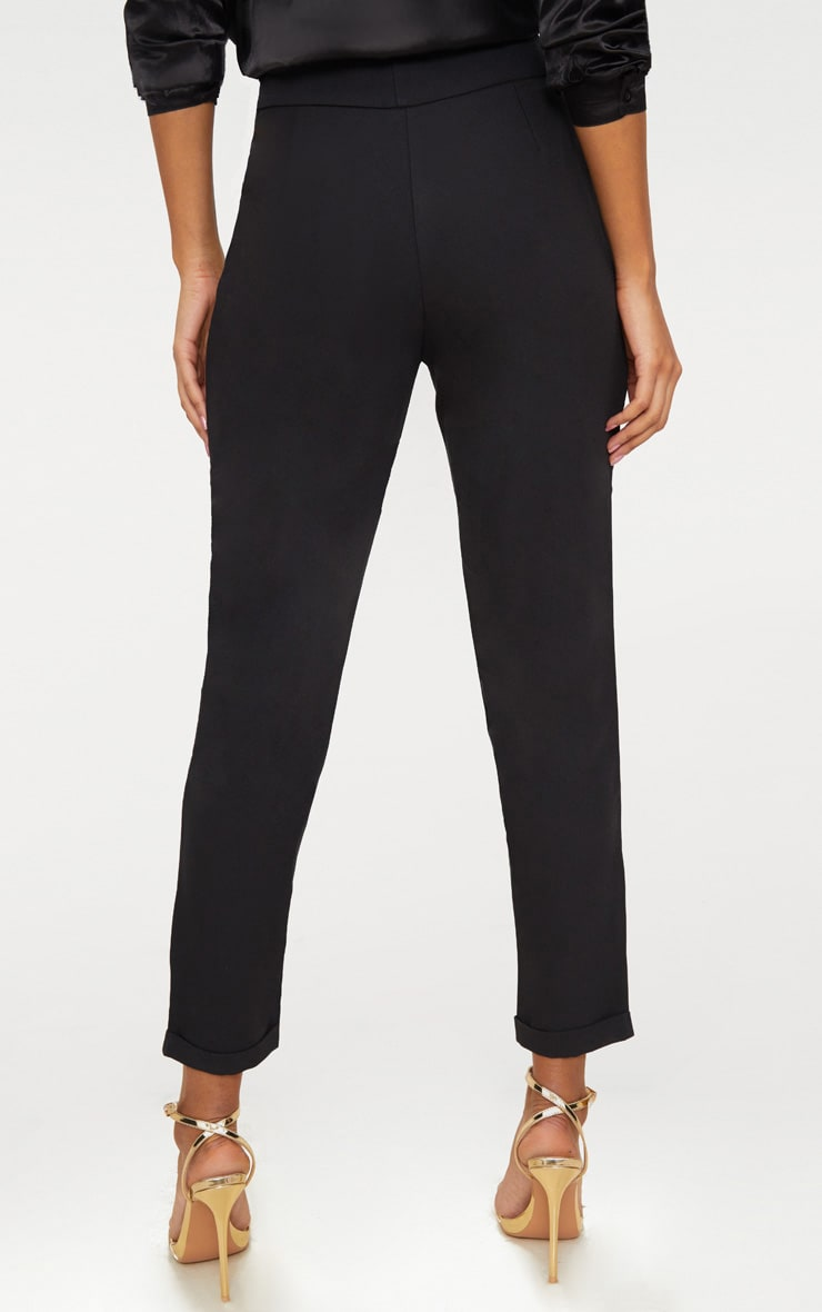 Elenor Black High Waisted Tapered Trousers 4