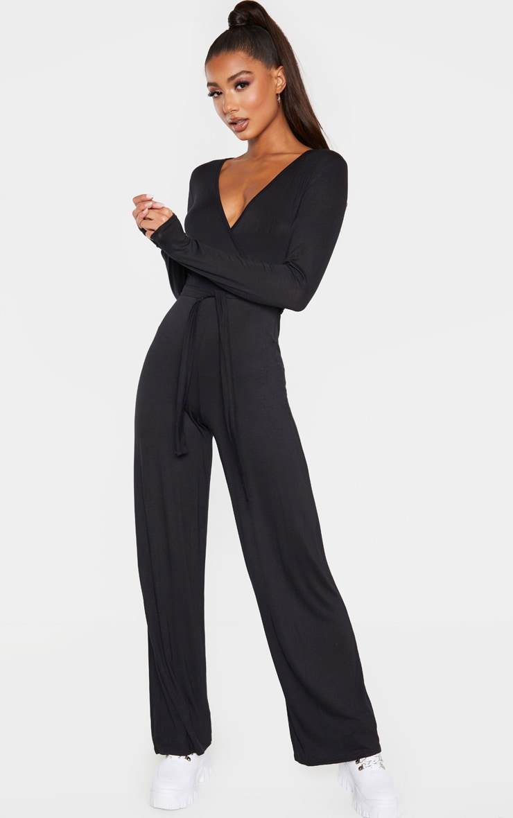 Black Tie Waist Long Sleeve Jumpsuit 1