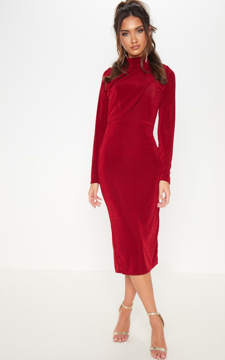 Burgundy High Neck Drape Front Midi Dress