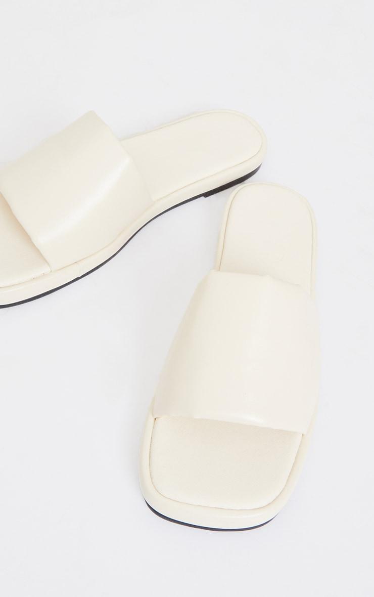 Cream PU Square Toe Mule Flat Sandals 4