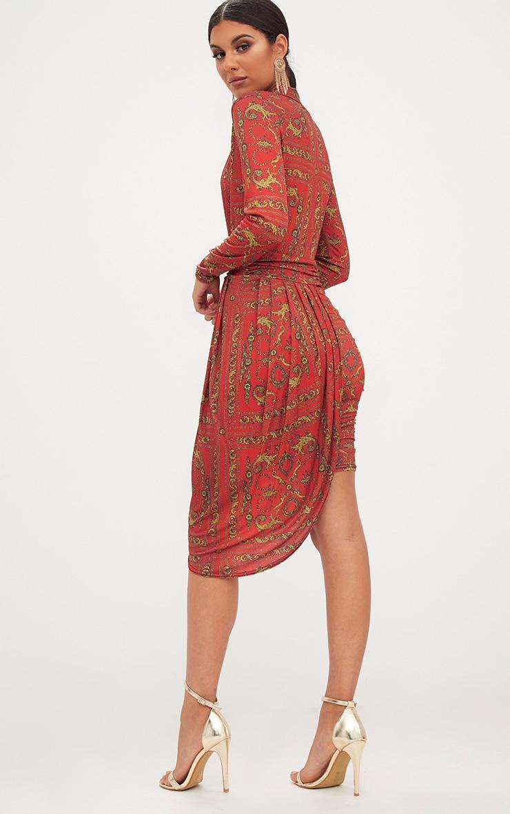 Orange Chain Print Long Sleeve Drape Front Plunge Bodycon Dress 2