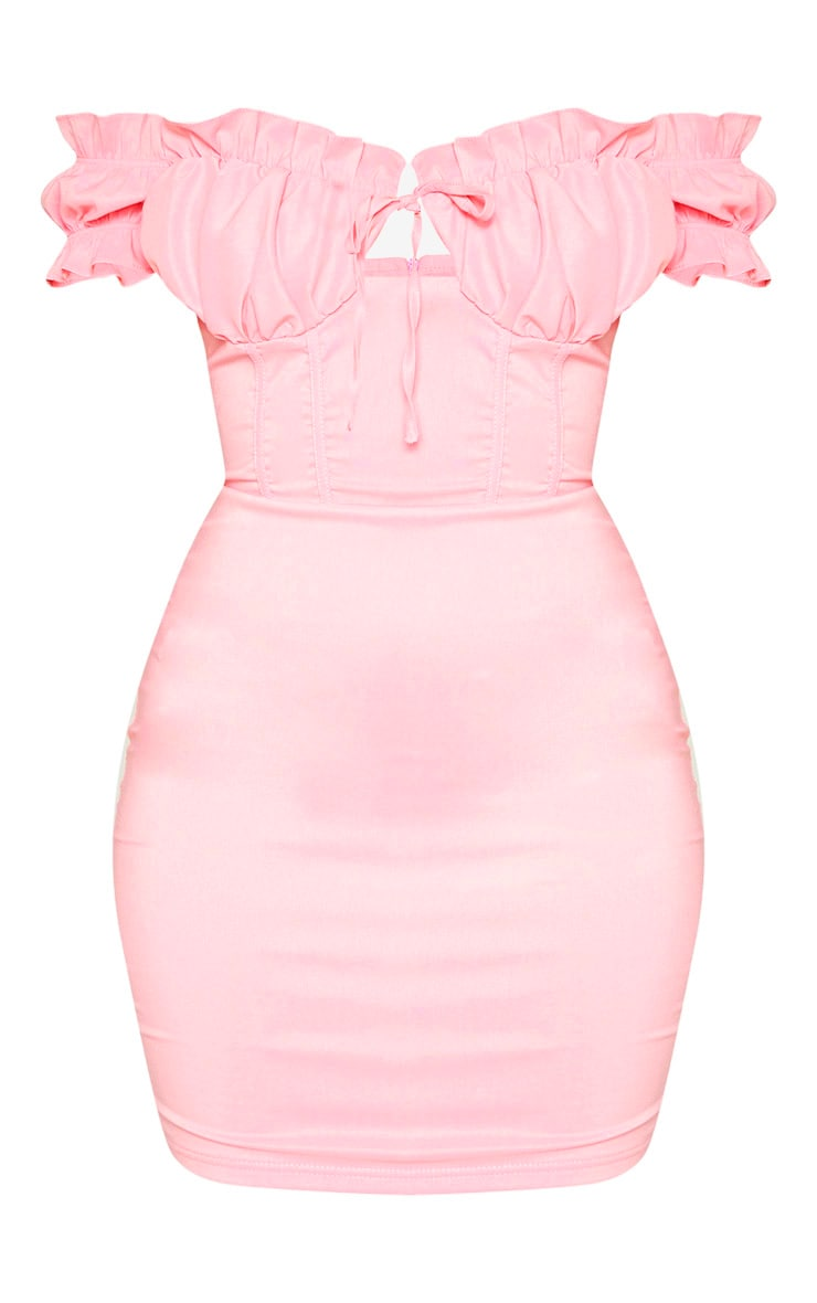 Baby Pink Bardot Frill Detail Bodycon Dress 3