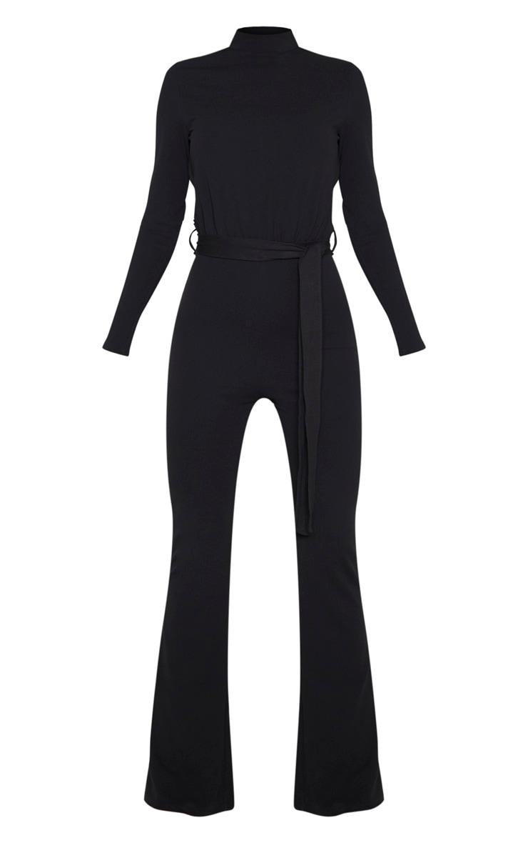 Tall Black High Neck Long Sleeve Scuba Flared Jumpsuit  3
