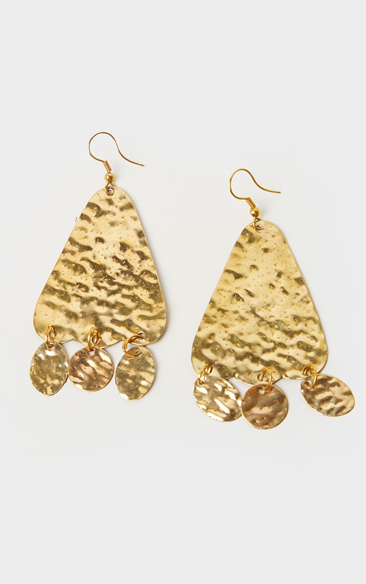 Gold Textured Triangle Cicular Drop Statement Earrings 3