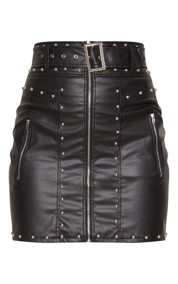 Black Faux Leather Stud Detail Belted Mini Skirt 3
