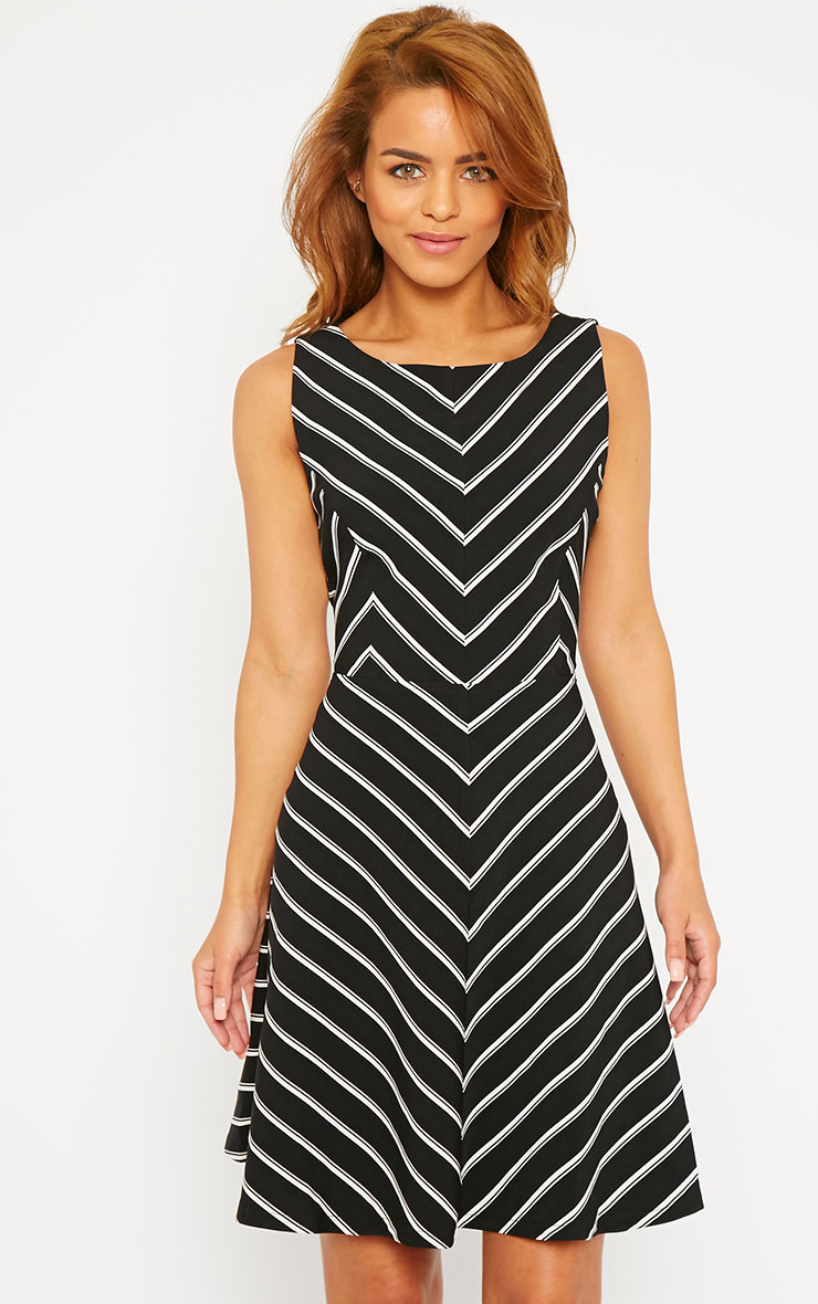 Bobbi Black Stripe Open Back Skater Dress 1