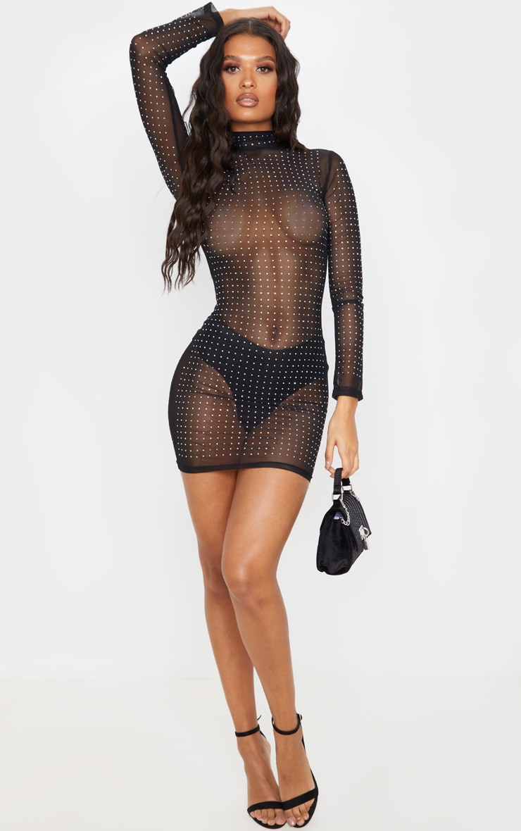 Black High Neck Diamante Detail Mesh Bodycon Dress 1