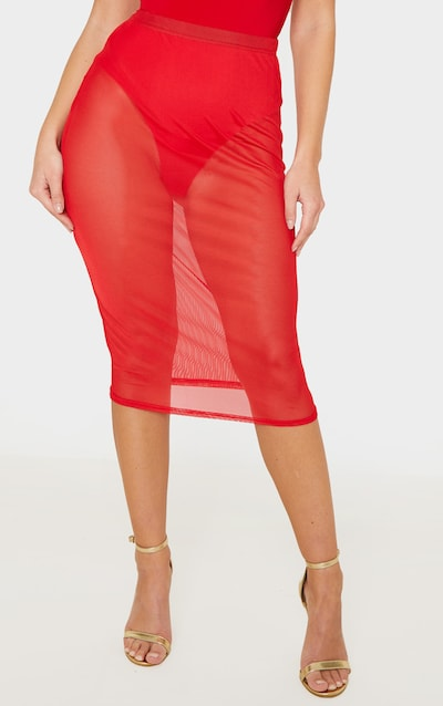 Red Mesh Basic Midi Skirt