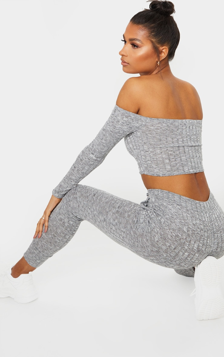 Grey Bardot Rib Knitted Set 2