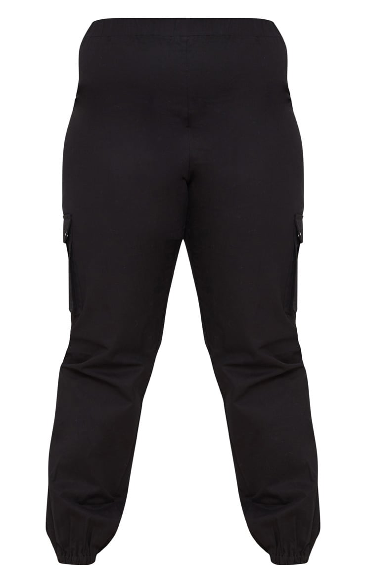 Plus Black Pocket Detail Cargo Trousers 3