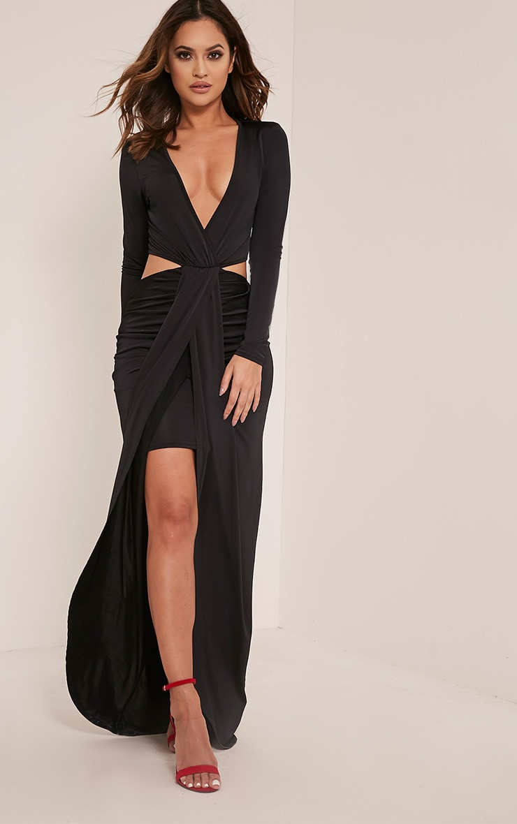 Bria Black Wrap Front Drape Detail Maxi Dress 1