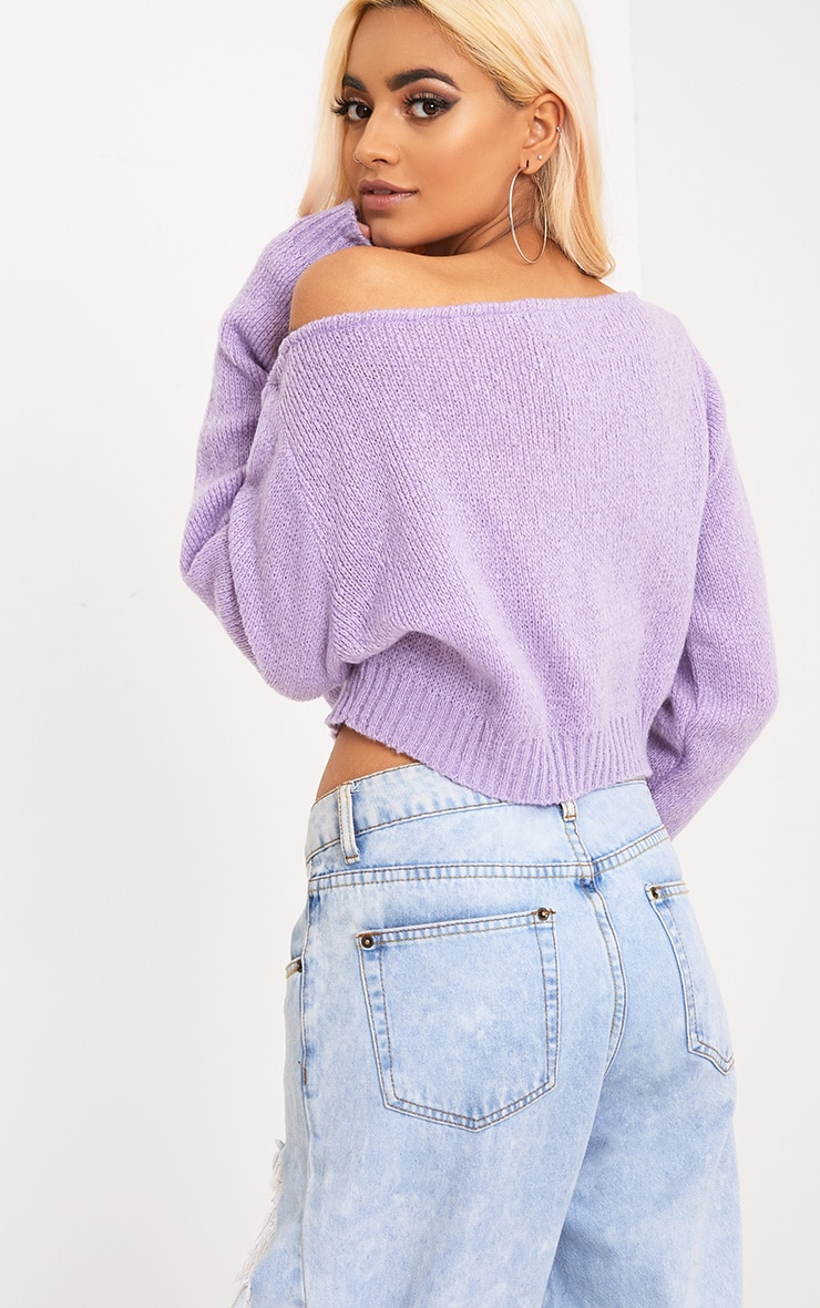 Adelaida Lilac Off Shoulder Knitted Crop Jumper 2